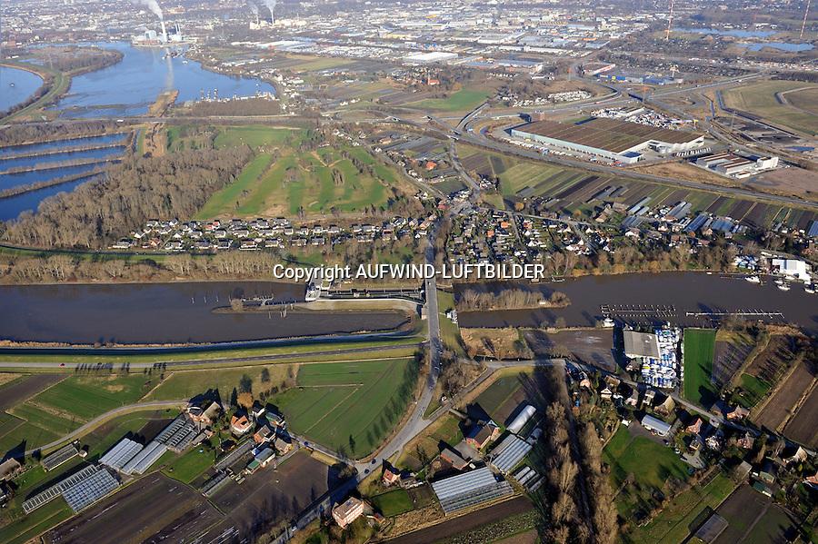 Tatenberger Schleuse mit Siel, Entwasserung der Hamburger Vier und Marschlande. Bildvergleich zu einem Luftbild aus dem Jahr 1921.Tatenberg, Moorfleet,