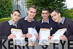 Tomas Trousil, Frederick Acko, Marek Dzurko and Esidor Pashaj who was delighted after receiving the Junior Cert results on Wednesday in Killarney Community College