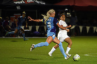 Kansas City, MO - Saturday May 28, 2016: FC Kansas City  midfielder Lo'eau LaBonta (1) defends against Orlando Pride midfielder Kaylyn Kyle (6) during a regular season National Women's Soccer League (NWSL) match at Swope Soccer Village.  Kansas City won 2-0.