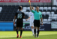 SWANSEA, WALES - MARCH 25:Odar Govea of Porto receives a yellow card from Referee A Coggins during the Premier League International Cup Semi Final match between Swansea City and Porto at The Liberty Stadium on March 25, 2017 in Swansea, Wales. (Photo by Athena Pictures)
