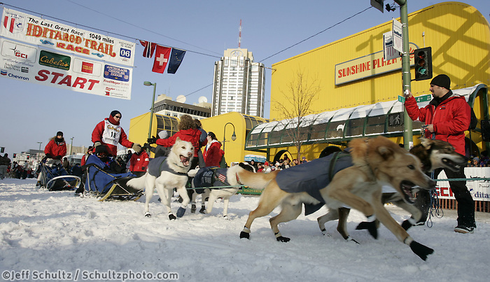 Gerald Susa leaves the Anchorage start line on 4th avenue during the start of the Iditarod.