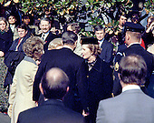 "United States President Ronald Reagan welcomes Prime Minister Margaret Thatcher of Great Britain for her first official visit of his presidency on the South Lawn of the White House in Washington, D.C. on Thursday, February 26, 1981.  Thatcher died from a stroke at 87 on Monday, April 8, 2013..Credit: Benjamin E. ""Gene"" Forte - CNP"