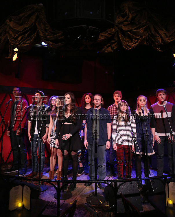 Austin Scott, Marco Ramos, Aliya Stuart, Charlotte Mary Wen, Brenna Bloom, Nyseli Vega, Ben Shuman, Andy Spencer, Honey Ribar, Chase O'Donnell and Aaron Scheff from the cast of 'One Day - The Musical' performing a sneak peek of the new pop-rock Musical at Rockwood Music Hall on January 28, 2015 in New York City.