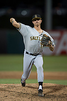 Salt Lake Bees relief pitcher Ralston Cash (14) delivers a pitch to the plate during a Pacific Coast League game against the Fresno Grizzlies at Chukchansi Park on May 14, 2018 in Fresno, California. Fresno defeated Salt Lake 4-3. (Zachary Lucy/Four Seam Images)
