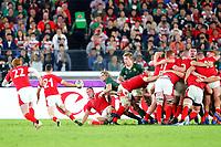 27th October 2019, Oita, Japan;  Wales team takes the ball from the scrum; 2019 Rugby World Cup Semi-final match between Wales 16-19 South Africa at International Stadium Yokohama in Yokohama, Kanagawa, Japan.