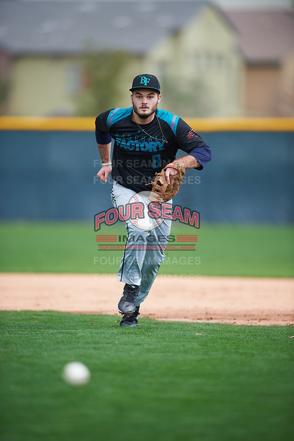 J.P. Shaw (8) of Mansfield High School in Mainesburg, Pennsylvania during the Under Armour All-American Pre-Season Tournament presented by Baseball Factory on January 14, 2017 at Sloan Park in Mesa, Arizona.  (Mike Janes/MJP/Four Seam Images)