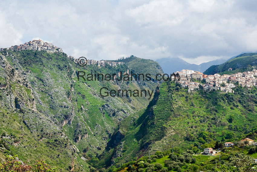 Italy, Calabria, near Cirella: mountain villages Grisolia (left) and Maiera (right)