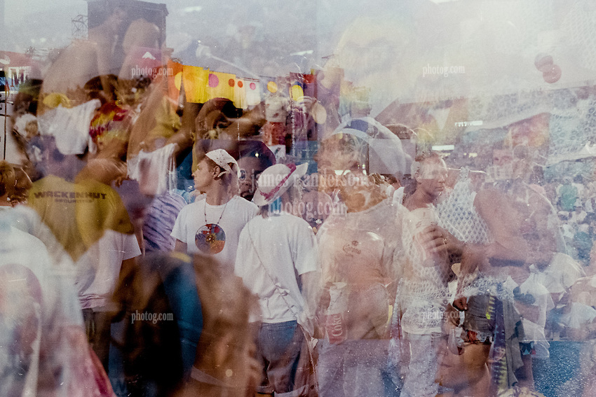 Double Exposure in Camera. The crowd before the Grateful Dead at Foxboro Stadium 2 July 1989. Massive Compilation of faces