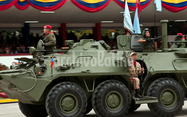 Venezuela: Caracas,04/02/12 .Venezuelan soldiers on Russian armored vehicle during a military parade in Caracas, Venezuela. Chavez canmemorated 20 years of his failed coup in 1992 with a parade of military forces..Carlos Hernandez/Archivolatino