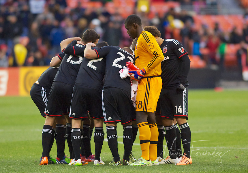 DC United players huddle before the starting whistle. DC United defeated the LA Galaxy 1-0 with a stoppage time goal from Chris Pontius at RFK Stadium in Washington DC.