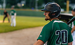 WATERBURY, CT-071520JS24—Simsbury SaberCats' Brad Ellis (20) looks on from the on deck circle during their summer college league game against the Brass City Bombers Wednesday at Municipal Stadium in Waterbury. <br /> Jim Shannon Republican-American