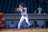 Mesa Solar Sox right fielder Charcer Burks (1), of the Chicago Cubs organization, at bat during an Arizona Fall League game against the Glendale Desert Dogs on October 28, 2017 at Sloan Park in Mesa, Arizona. The Solar Sox defeated the Desert Dogs 9-6. (Zachary Lucy/Four Seam Images)