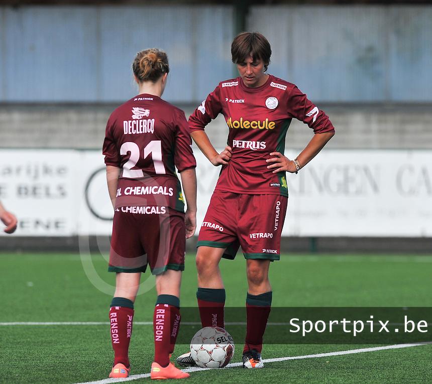 SV Zulte Waregem Dames : Sarina Heirbaut aan de aftrap.foto DAVID CATRY / Vrouwenteam.be
