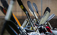 25 MAY 2014 - BRIGG, GBR - Paddles lean against the racking in transition during the World Quadrathlon Federation 2014 Middle Distance World Championships at the Brigg Bomber at Brigg in Lincolnshire, Great Britain (PHOTO COPYRIGHT © 2014 NIGEL FARROW, ALL RIGHTS RESERVED)