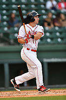 First baseman Mitchell Gunsolus (22) of Greenville Drive bats in a game against the Greensboro Grasshoppers on Tuesday, April 25, 2017, at Fluor Field at the West End in Greenville, South Carolina. Greenville won, 5-1. (Tom Priddy/Four Seam Images)