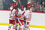 Wisconsin Badgers celebrate during the first round of the NCAA tournament against the Harvard Crimson Saturday, March 15, 2014 in Madison, Wis. The Badgers won 2-1 and advance to the Frozen Four. (Photo by David Stluka)