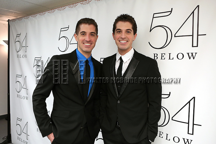 "Will Nunziata and Anthony Nunziata backstage before performing ""Broadway, Our Way"" at 54 Below on January 9, 2014 in New York City."