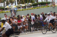 Fans at Miami Heat NBA 2013 Championship parade, Biscayne Boulevard, American Airlines Arena, Miami, FL, June 24, 2013