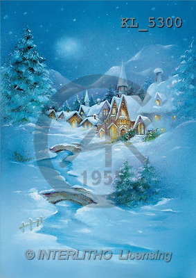 Interlitho, Emilia, CHRISTMAS LANDSCAPE, paintings, village, river(KL5300,#XL#) Landschaften, Weihnachten, paisajes, Navidad, illustrations, pinturas