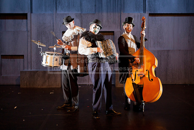 18/09/2012. LONDON, UK. Eccentric three piece band The Tiger Lillies, consisting of percussionist Adrian Huge (L), Martyn Jacques (C) and bass player Adrian Stout (R) appear at a press call for 'The Tiger Lillies perform Hamlet' at the Southbank Centre in London today (18/09/12). Directed by Martin Tulinius, the show runs from 18th September - 21st September at the South Banks's Queen Elizabeth Hall. Photo credit: Matt Cetti-Roberts