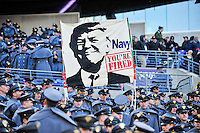 Baltimore, MD - DEC 10, 2016: Army fans show a custom made Trump sign during game between Army and Navy at M&T Bank Stadium, Baltimore, MD. (Photo by Phil Peters/Media Images International)