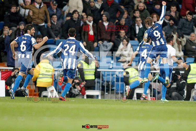 Espanyol's Juan Forlin, Christian Lopez and Sergio Garcia celebrate during La Liga match. December 16, 2012. (ALTERPHOTOS/Alvaro Hernandez)
