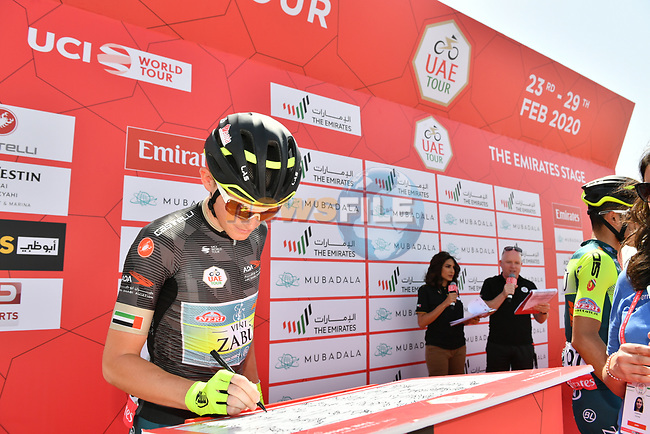 Black Jersey holder Veljko Stojnic (SER) Vini Zabù-KTM at sign on before Stage 3 The Emirates Stage of the UAE Tour 2020 running 184km from Al Qudra Cycle Track to Jebel Hafeet, Dubai. 25th February 2020.<br /> Picture: LaPresse/Massimo Paolone | Cyclefile<br /> <br /> All photos usage must carry mandatory copyright credit (© Cyclefile | LaPresse/Massimo Paolone)