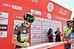 Black Jersey holder Veljko Stojnic (SER) Vini Zabù-KTM at sign on before Stage 3 The Emirates Stage of the UAE Tour 2020 running 184km from Al Qudra Cycle Track to Jebel Hafeet, Dubai. 25th February 2020.<br /> Picture: LaPresse/Massimo Paolone   Cyclefile<br /> <br /> All photos usage must carry mandatory copyright credit (© Cyclefile   LaPresse/Massimo Paolone)