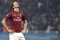 9th February 2020, Milan, Italy; Serie A football, AC Milan versus Inter-Milan;  Zlatan Ibrahimovic looks to the heavans as his team gives up a 2-goal advantage to lose the game