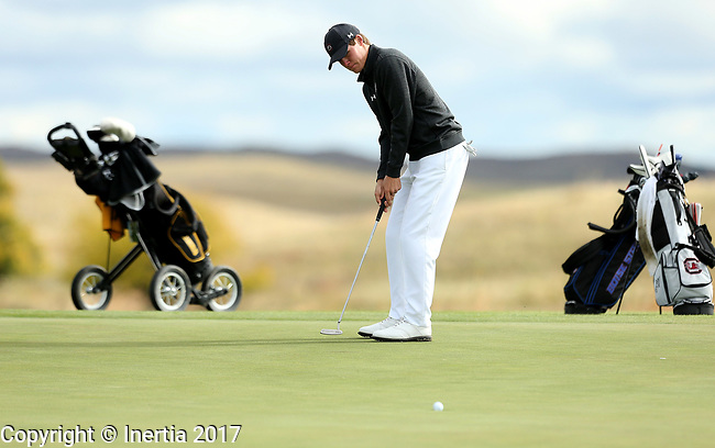 VALENTINE, NE - OCTOBER 3: Will Miles from South Carolina rolls in a birdie putt on the third hole during the final round of the South Dakota State Invitational Tuesday at The Prairie Club in Valentine, NE. (Photo by Dave Eggen/Inertia)