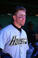 SAN FRANCISCO, CA - Jeff Bagwell of the Houston Astros watches from the dugout during a game against the San Francisco Giants at Candlestick Park in San Francisco, California in 1995. Photo by Brad Mangin