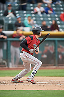 Ryder Jones (8) of the Sacramento River Cats bats against the Salt Lake Bees at Smith's Ballpark on April 19, 2018 in Salt Lake City, Utah. Salt Lake defeated Sacramento 10-7. (Stephen Smith/Four Seam Images)