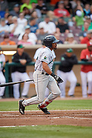 Cedar Rapids Kernels right fielder Jaylin Davis (24) follows through on a swing during a game against the Dayton Dragons on May 10, 2017 at Fifth Third Field in Dayton, Ohio.  Cedar Rapids defeated Dayton 6-5 in ten innings.  (Mike Janes/Four Seam Images)