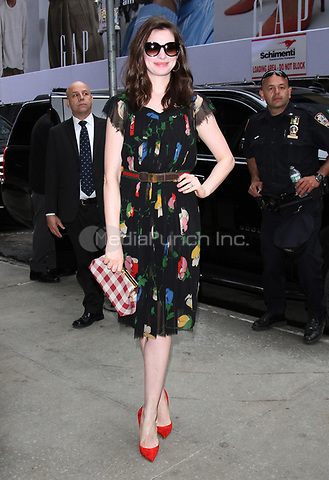 NEW YORK, NY - APRIL 17: Anne Hathaway seen at Good Morning America while promoting her new film, Colossal on April 17,  2017 in New York City. Credit: RW/MediaPunch