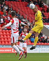 Fleetwood Town's Paddy Madden heads a chance wide during the first half<br /> <br /> Photographer David Shipman/CameraSport<br /> <br /> The EFL Sky Bet League One - Doncaster Rovers v Fleetwood Town - Saturday 6th October 2018 - Keepmoat Stadium - Doncaster<br /> <br /> World Copyright &copy; 2018 CameraSport. All rights reserved. 43 Linden Ave. Countesthorpe. Leicester. England. LE8 5PG - Tel: +44 (0) 116 277 4147 - admin@camerasport.com - www.camerasport.com