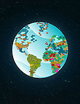 Illustrative image of earth with speech bubbles representing social network