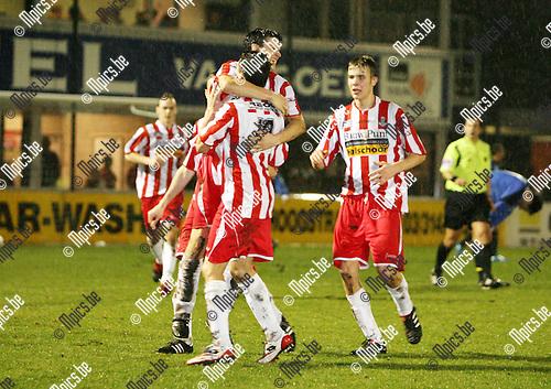 2010-03-20 / Seizoen 2009-2010 / Voetbal /  Hoogstraten VV - R Kapellen FC / Vreugde bij de spelers van Hoogstraten na het 2-0 doelpunt van Jimmy Fockaert..Foto: mpics