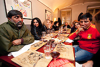 "Italy. Piedmont region. Turin. Restaurant ""Tre Galli"". Stop TB Partnership. National ambassadors against tuberculosis (WHO). Left by number: Rania Ismail (2), Jordan, actress. Sonia Goldemberg(3), Peru, Journalist. Right by number: Deepak Raj Giri (2), Nepal, TV movie actor. Deespasri Niraula(3), Nepal, TV movie actress.6.12.2011 © WHO /Didier Ruef"