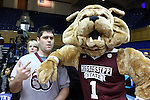 22 March 2015: MSU mascot Bully (right) with a cheerleader. The Duke University Blue Devils hosted the Mississippi State University Bulldogs at Cameron Indoor Stadium in Durham, North Carolina in a 2014-15 NCAA Division I Women's Basketball Tournament second round game. Duke won the game 64-56.