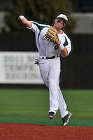 Second baseman Brett Netzer (9) of the Charlotte 49ers throws out a runner at first in a game against the Fairfield Stags on Saturday, March 12, 2016, at Hayes Stadium in Charlotte, North Carolina. (Tom Priddy/Four Seam Images)