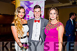Listowel Community College, St Michael's College, Listowel and Presentation, Listowel, enjoying their Debs at the Brandon Hotel on Thursday night. Picturedl-r  Kelsey Ahern, Ronan Hayes and Bryony Kelly