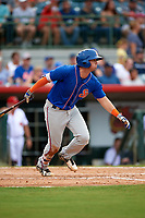 St. Lucie Mets second baseman Jeff McNeil (5) follows through on a swing during a game against the Florida Fire Frogs on July 23, 2017 at Osceola County Stadium in Kissimmee, Florida.  St. Lucie defeated Florida 3-2.  (Mike Janes/Four Seam Images)