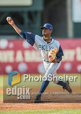 30 July 2016: Brooklyn Cyclones pitcher Justin Dunn on the mound against the Vermont Lake Monsters at Centennial Field in Burlington, Vermont. The Lake Monsters defeated the Cyclones 7-1 in NY Penn League play. Mandatory Credit: Ed Wolfstein Photo *** RAW (NEF) Image File Available ***