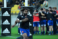France's Mathieu Bastareaud warms up for the Steinlager Series international rugby match between the New Zealand All Blacks and France at Westpac Stadium in Wellington, New Zealand on Saturday, 16 June 2018. Photo: Dave Lintott / lintottphoto.co.nz