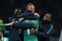 /Spura p layers including Harry Kane celebrate the victory after AFC Ajax vs Tottenham Hotspur, UEFA Champions League Football at the Johan Cruyff Arena on 8th May 2019