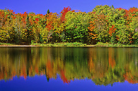 Clear blue sky and fall colors of Maple reflects into the almost still waters of Crescent Lake in Canada's Lake Superior Provincial Park in Ontario.