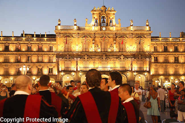 Tuna Music being played in Plaza Mayor Square, Salamanca, Spain