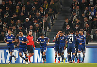 Calcio, Champions League: Gruppo H, Juventus vs Lione. Torino, Juventus Stadium, 2 novembre 2016. <br /> Lyon's Corentin Tolisso, fourth from right, celebrates with teammates after scoring the equalizer goal during the Champions League Group H football match between Juventus and Lyon at Turin's Juventus Stadium, 2 November 2016. The game ended 1-1.<br /> UPDATE IMAGES PRESS/Isabella Bonotto