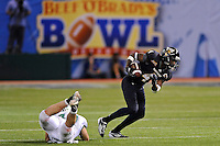 20 December 2011:  FIU wide receiver T.Y. Hilton (4) breaks away from Marshall linebacker Tyson Gale (47) in the fourth quarter as the Marshall University Thundering Herd defeated the FIU Golden Panthers, 20-10, to win the Beef 'O'Brady's St. Petersburg Bowl at Tropicana Field in St. Petersburg, Florida.