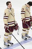 Brooks Dyroff (BC - 14), Johnny Gaudreau (BC - 13) - The Boston College Eagles defeated the visiting University of Vermont Catamounts to sweep their quarterfinal matchup on Saturday, March 16, 2013, at Kelley Rink in Conte Forum in Chestnut Hill, Massachusetts.